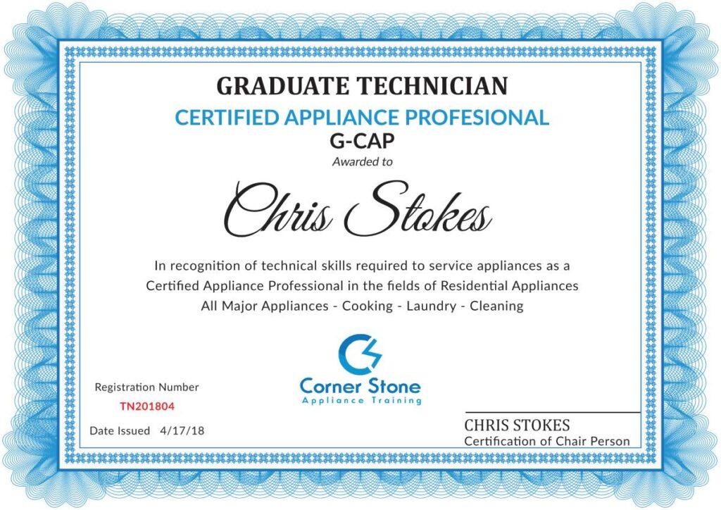 Appliance Certification Certificate